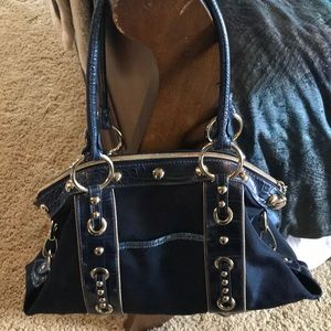 Kathy Van Zeeland  Navy Blue Bag with Gold Accents